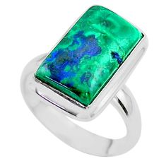 9.03cts solitaire natural green azurite malachite silver ring size 7.5 t45529