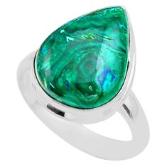 13.28cts solitaire natural green azurite malachite silver ring size 8.5 t45530