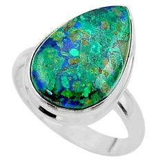 11.95cts solitaire natural green azurite malachite silver ring size 8.5 t45537