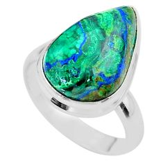 11.46cts solitaire natural green azurite malachite silver ring size 8.5 t45546