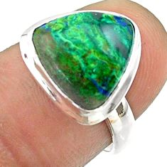 6.70cts solitaire natural green azurite malachite silver ring size 6.5 t55531