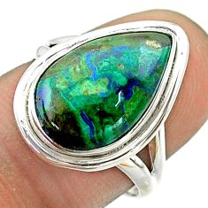 6.57cts solitaire natural green azurite malachite silver ring size 6.5 t55545