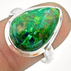 9.85cts solitaire natural green azurite malachite silver ring size 8.5 t55554