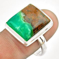 15.31cts solitaire natural green boulder chrysoprase silver ring size 10 t54339
