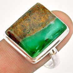 18.54cts solitaire natural green boulder chrysoprase silver ring size 11 t54338