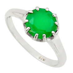 2.73cts solitaire natural green chalcedony 925 silver ring size 6.5 r40541