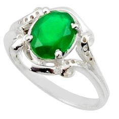 3.31cts solitaire natural green chalcedony 925 silver ring size 7.5 r40686