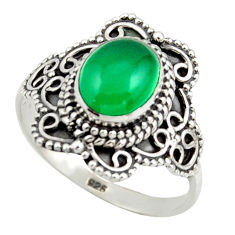 3.02cts solitaire natural green chalcedony 925 silver ring size 8.5 r41991