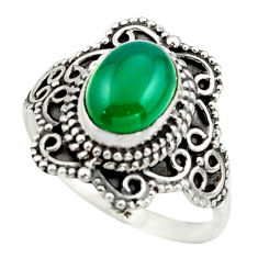 3.01cts solitaire natural green chalcedony 925 silver ring size 8.5 r41992