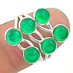 4.89cts solitaire natural green chalcedony 925 silver ring size 6 t19182