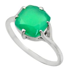 4.91cts solitaire natural green chalcedony 925 silver ring size 9 r41928