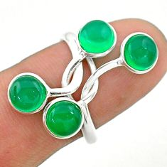 4.80cts solitaire natural green chalcedony 925 silver ring size 9 t19164