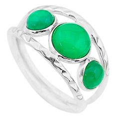 5.21cts solitaire natural green chalcedony 925 silver ring size 9.5 t19086