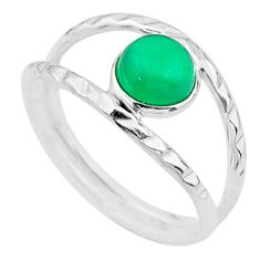 1.16cts solitaire natural green chalcedony 925 silver ring size 6.5 t19101