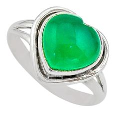 5.02cts solitaire natural green chalcedony heart 925 silver ring size 7.5 t41678