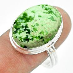 13.85cts solitaire natural green chrome chalcedony silver ring size 10.5 t54259