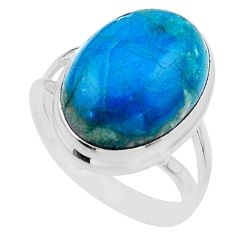 13.30cts solitaire natural green chrysocolla 925 silver ring size 9 t24752