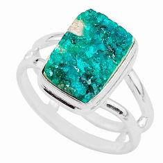 4.82cts solitaire natural green dioptase 925 sterling silver ring size 7.5 t3357