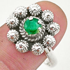 0.87cts solitaire natural green emerald 925 silver flower ring size 9 t40706