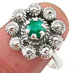 0.92cts solitaire natural green emerald 925 silver flower ring size 8.5 t40708