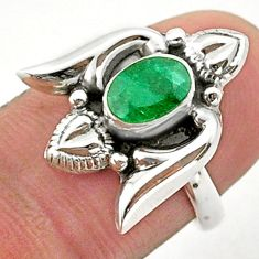 1.47cts solitaire natural green emerald 925 silver heart ring size 6 t40759