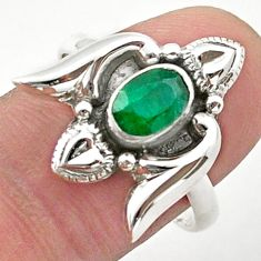 1.63cts solitaire natural green emerald 925 silver heart ring size 8.5 t40729