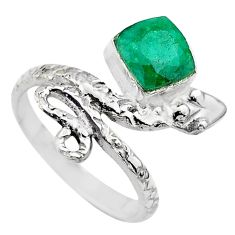 2.58cts solitaire natural green emerald 925 silver snake ring size 7 t32005