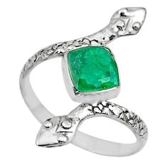 2.58cts solitaire natural green emerald 925 silver snake ring size 9 t32011