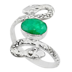 3.19cts solitaire natural green emerald 925 silver snake ring size 9.5 t32001