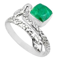 2.41cts solitaire natural green emerald 925 silver snake ring size 8.5 t32002