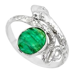 3.29cts solitaire natural green emerald 925 silver snake ring size 7.5 t32010