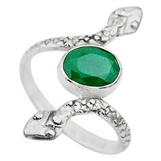 3.11cts solitaire natural green emerald 925 silver snake ring size 9.5 t32014