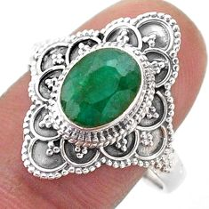 3.13cts solitaire natural green emerald 925 sterling silver ring size 10 t46589