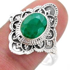 3.10cts solitaire natural green emerald 925 sterling silver ring size 10 t46592