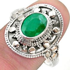 3.22cts solitaire natural green emerald 925 sterling silver ring size 10 t46690