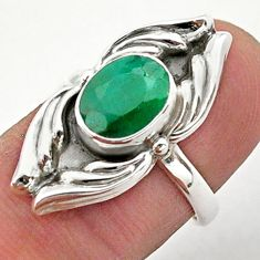 3.26cts solitaire natural green emerald 925 sterling silver ring size 6 t40684