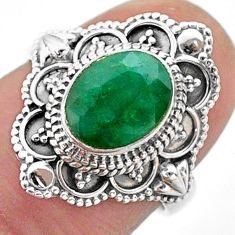 3.10cts solitaire natural green emerald 925 sterling silver ring size 6 t46652