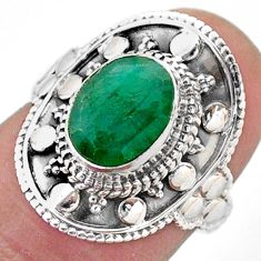 3.11cts solitaire natural green emerald 925 sterling silver ring size 6 t46670