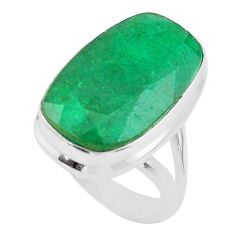 14.19cts solitaire natural green emerald 925 sterling silver ring size 6 t47244