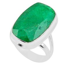 14.12cts solitaire natural green emerald 925 sterling silver ring size 6 t47259