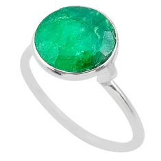 4.23cts solitaire natural green emerald 925 sterling silver ring size 7 t30009