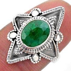 2.93cts solitaire natural green emerald 925 sterling silver ring size 7 t46610
