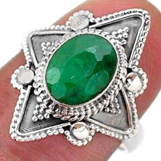 3.26cts solitaire natural green emerald 925 sterling silver ring size 7 t46611