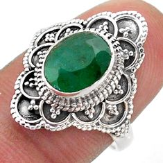 2.90cts solitaire natural green emerald 925 sterling silver ring size 7 t46637