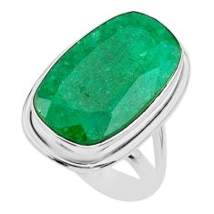 13.79cts solitaire natural green emerald 925 sterling silver ring size 7 t47258