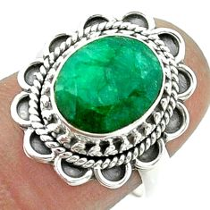 5.31cts solitaire natural green emerald 925 sterling silver ring size 7 t55963