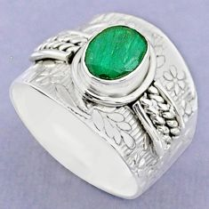 2.11cts solitaire natural green emerald 925 sterling silver ring size 8 t37192