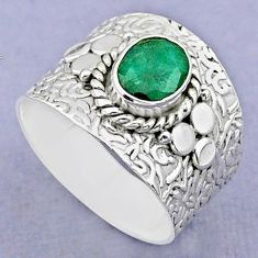 2.01cts solitaire natural green emerald 925 sterling silver ring size 8 t37231