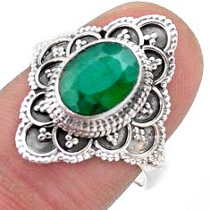 3.41cts solitaire natural green emerald 925 sterling silver ring size 8 t46600