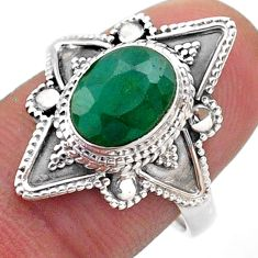 3.22cts solitaire natural green emerald 925 sterling silver ring size 8 t46636